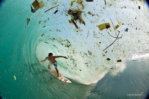 Surfing trash filled waves