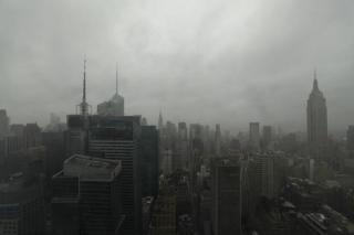 Gray skies new york skyline