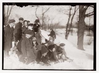 Snowy central park 1910s
