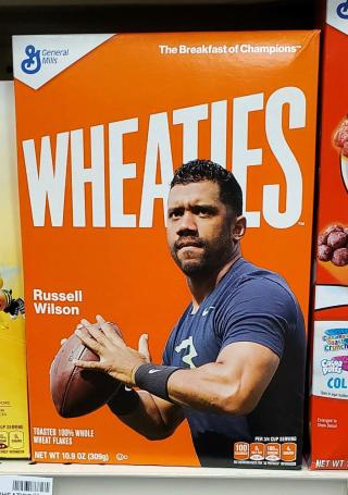 Russell wilson on wheaties box