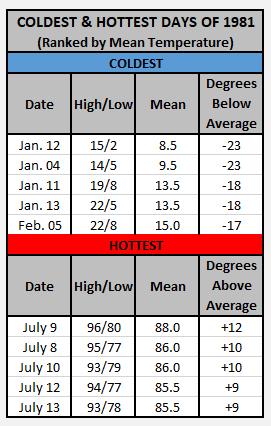 Chart - 1981 coldest hottest