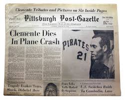 Roberto clemente death_newspaper headline