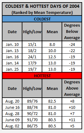 Chart - 2004 hottest and coldest