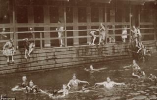 Kids swimming in 19th century