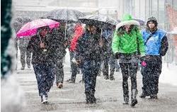 Snowy pedestrians