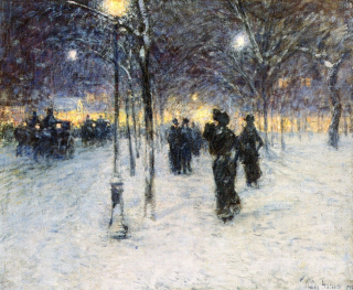 Snow in union square by childe hassam